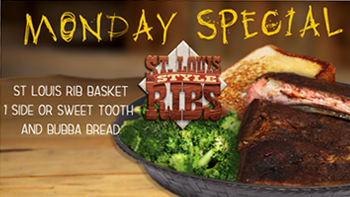 Piggy Back Ribs w/2 sides and BubbaBread $9.99
